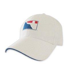 BPONG™ Fitted Hat - White w/ Navy Sandwich Peak 1
